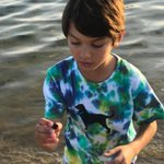 The wonder of a child finding beauty in nature 💙🌊 Jack found a tiny crab that he quickly released back into its habitat, the ocean shore 🌊 #marthasvineyard #ocean #island #boy #nature #grandson