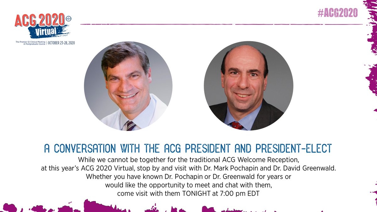 #ACG2020 Friends - In a little more than 2 hours login for our evening Prime Time and kick off the evening community events with a chat with Dr @MarkPochapin and Dr. David Greenwald @dagreenwald inside the virtual meeting platform! #ACGfamily #GIcommunity 7 pm EDT TONIGHT