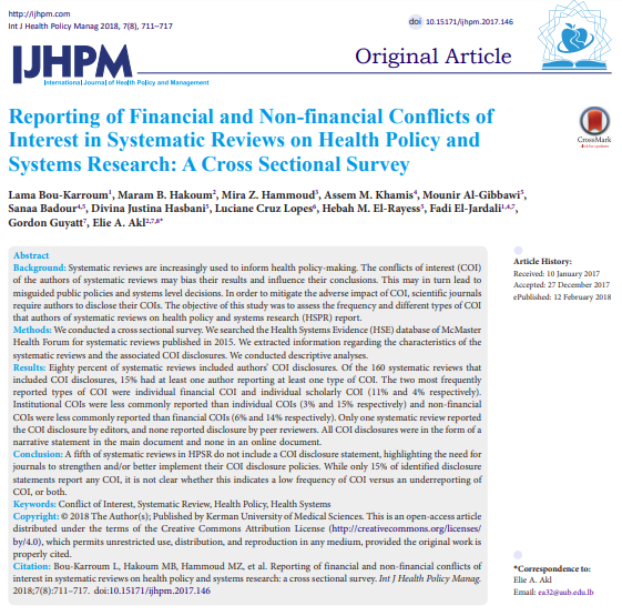 Reporting of #Financial and #Nonfinancial Conflicts of Interest in Systematic Reviews on #HealthPolicy and Systems Research: A Cross Sectional Survey  https://t.co/rC9FxWuhPk  #conflictofinterest #COI #SystematicReview #HealthSystems  https://t.co/7UcWjIdBWB https://t.co/zLTgMe8biW