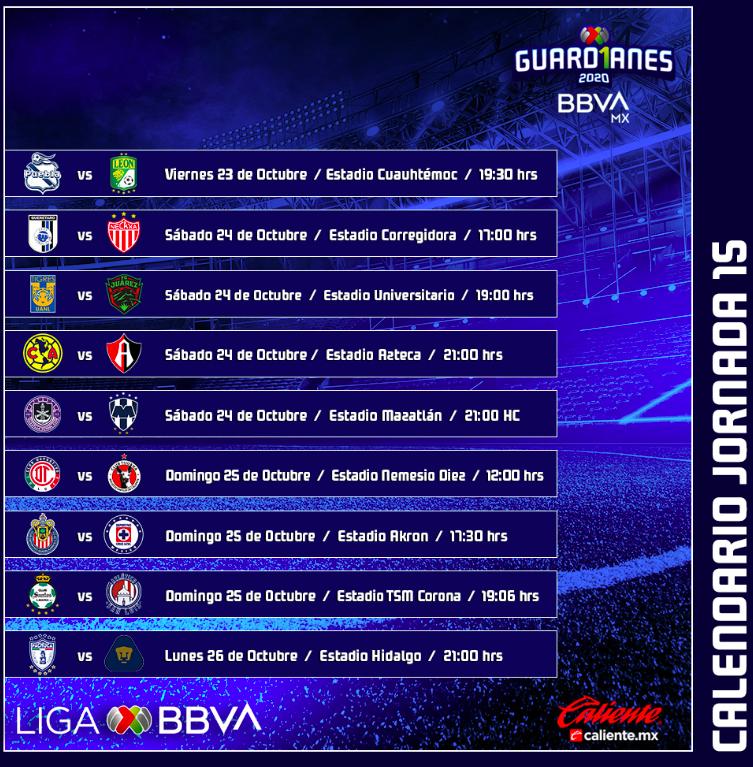 Con 4 partidos continua la jornada 15 de @LigaBBVAMX el día de hoy.   17:00 Querétaro vs Necaxa 20:00 Tigres vs Juárez 21:00 América vs Atlas 21:00 Mazatlan vs Monterrey https://t.co/NLKNt9OX5c