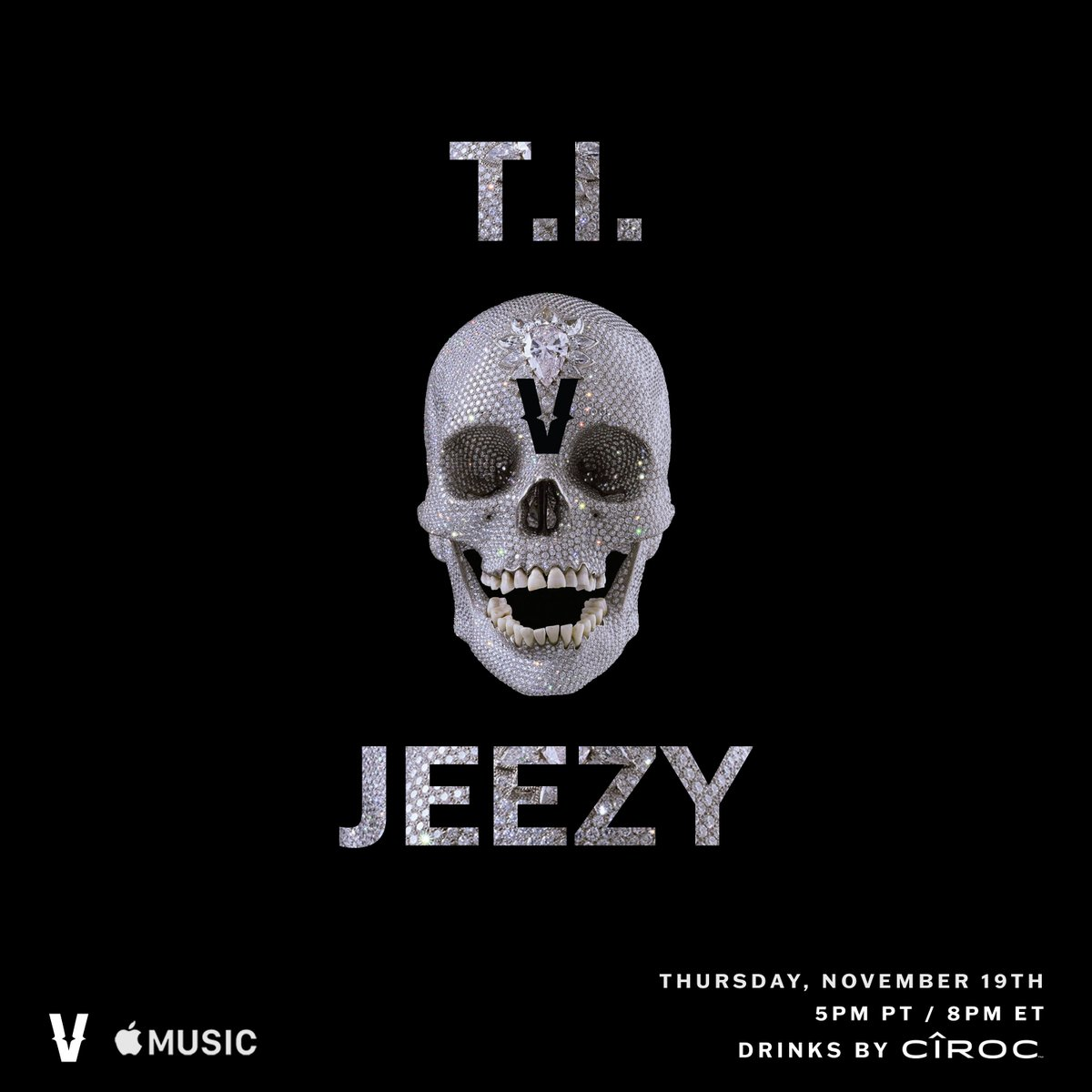 #VERZUZ is back with Season 2 ‼️ T.I. vs Jeezy 💥 Let the celebrations begin 🏆🏆🏆  Thursday, November 19th, 5PM PT/8PM ET.  Watch it on ourIG or in HD on@AppleMusic. Drinks by@CIROC. https://t.co/azgvMt4nT2