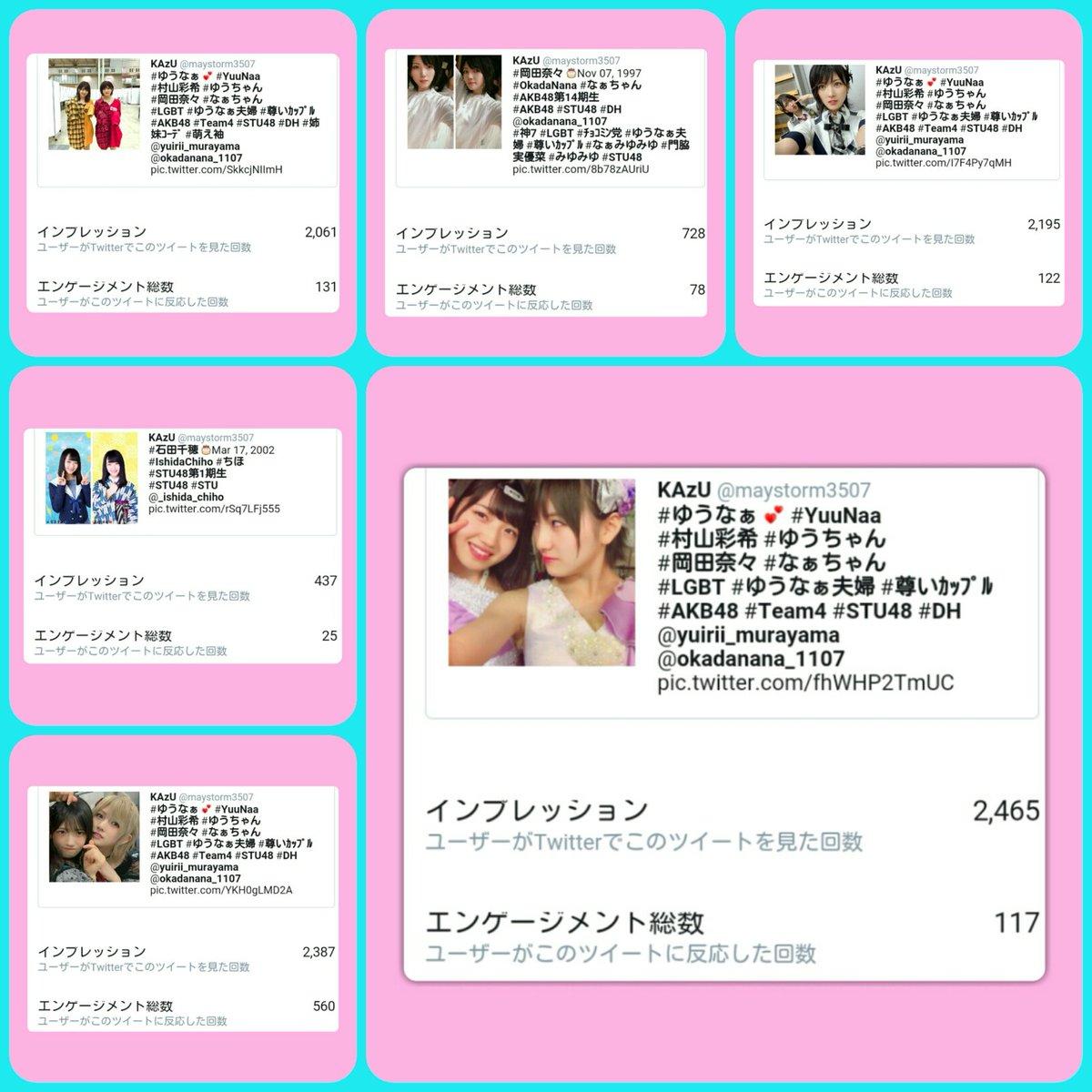#ツイートアクティビティ #インプレッション #impression 《ユーザーがTwitterでこのツイートを見た回数》 10月18日(日) ツイート数:6 インプレッション合計:10273 [+746] 最高値:2465 #ゆうなぁ夫婦 #LGBT #尊いカップル #村山彩希 #岡田奈々 #AKB48 #Team4 #STU48 https://t.co/i7BJZJ0fSL