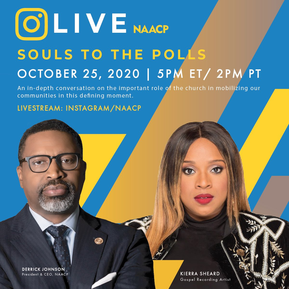 Tune in tomorrow as President @derricknaacp goes live on IG w/ @kierrasheard to discuss #SoulstothePolls and the importance of the #BlackVote. #2020Election https://t.co/bAbk3hmDI2