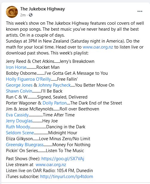 Show is on later today, folks. This week features covers of great pop tunes, done by amazing Americana artists. @jukeboxhighway  3PM Sundays, New Zealand time [check your local time]. Head to https://t.co/LBdV1pGUiI to stream live or download past shows.  Here's the playlist: https://t.co/D8OA0aTNCW