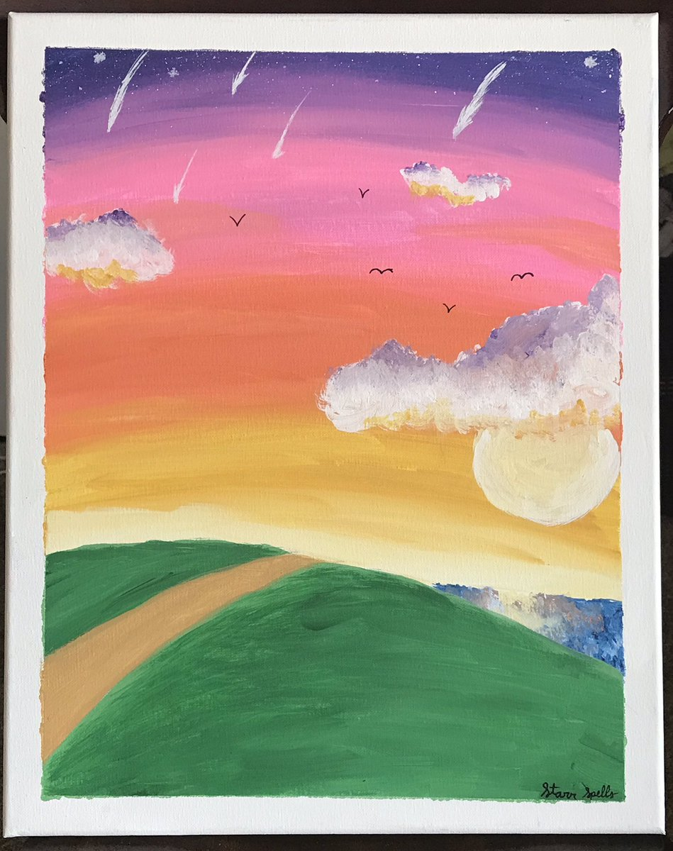✧⁺💜🧡Sunset Stars🧡💜⁺✧  This has got to be my favorite painting that I've ever done of all time!  It's inspired by Nutty Noon from Kirby's Return to Dreamland!   #sunset #clouds #paintings #myartwork #forfun #relaxing #aesthetic https://t.co/X2SMQ6aLtG
