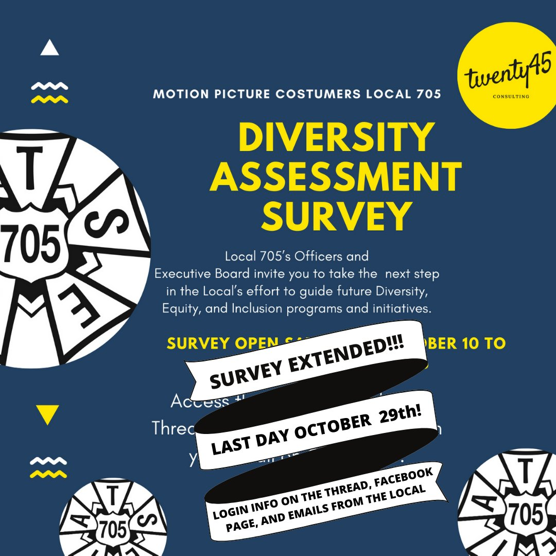 ❗️❗️❗️ SURVEY EXTENDED Thru 10/29! The diversity assessment survey will provide our leadership with crucial demographic information about the make-up of our local. 705 members please take a moment of your day to help guide Local 705 into a more equitable future.