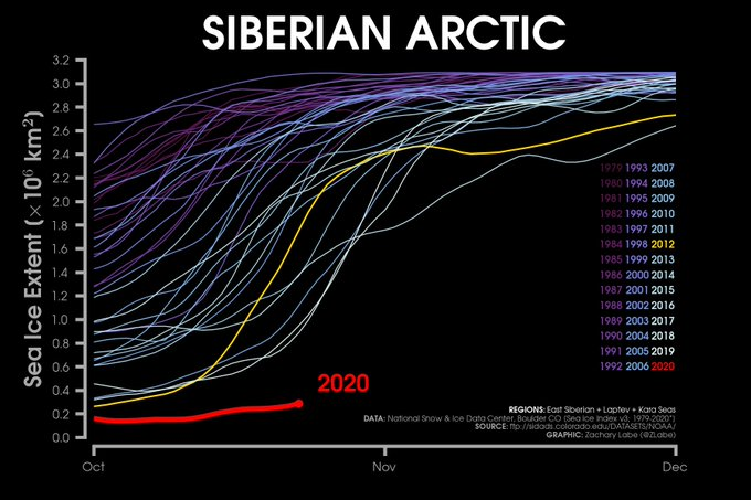 Line graph time series of 2020's daily Arctic sea ice extent in the Siberian Arctic compared to each year from 1979 to 2019. 2020 is a major outlier compared to the other years in October and November.