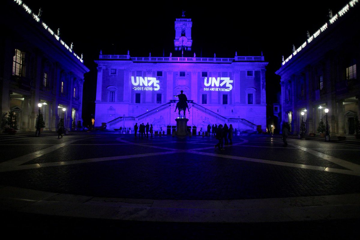 The@UNblue is colour of solidarity, a symbol of hope. On this#UNDay, it fills me with pride to see the Rome's Palazzo Senatorio lit up in 🇺🇳 blue. Last week, the Colosseum was lit up to mark#FAO75. Thank you@ROMA & Italy 🇮🇹 for your continued support! #UN75