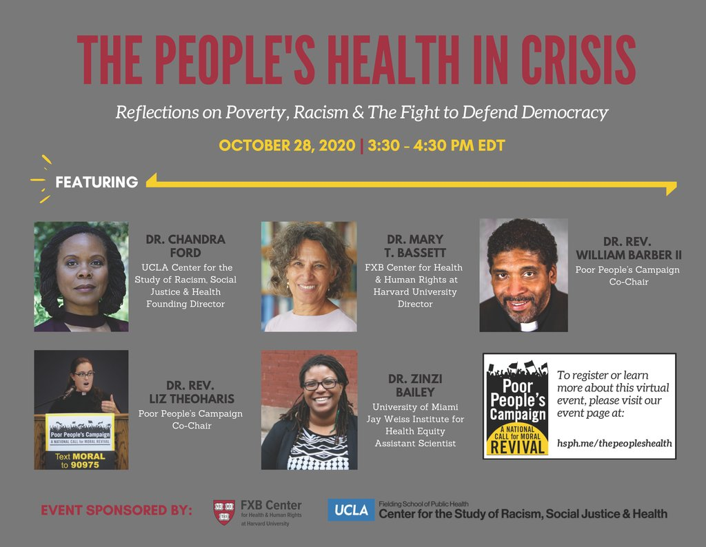 Register NOW for this powerful conversation with the co-leads of the #PoorPeoplesCampaign, Wed 10/28 at 3:30p EST. They will be discussing #Poverty #Racism, #Democracy, and the #Movement we must all build for the 'People's Health'. @UniteThePoor @FXBHarvard @RacialHealthEq https://t.co/KqVYR8b7oi