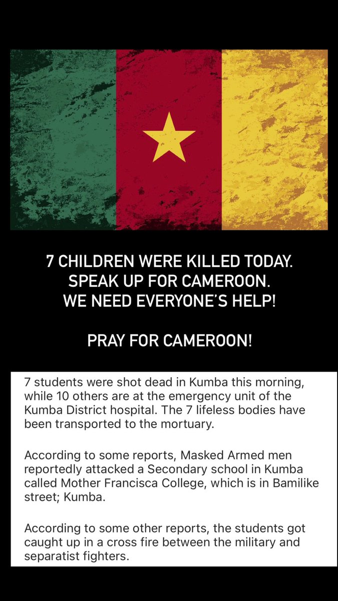 7 CHILDREN MURDERED TODAY. OH MY GOD!   SPEAK UP ABOUT CAMEROON. WE NEED EVERYONE'S HELP 😭#Cameroon #AnglophoneCrisis https://t.co/pQ9pbsVl9J