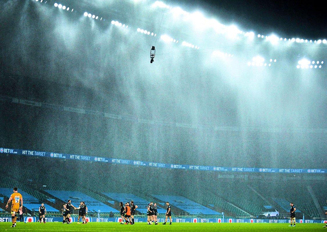 Just a bit of rain at HQ 😬 #GallagherPremFinal