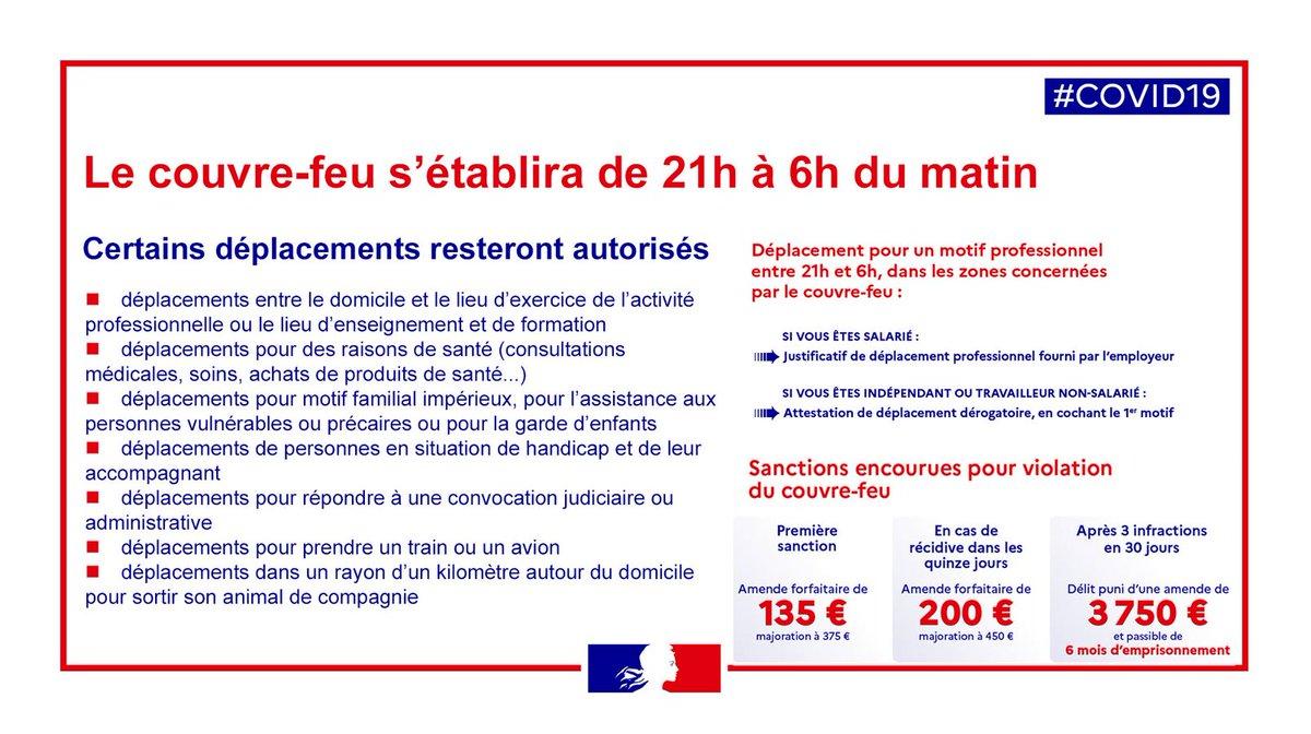 #Covid19   Rappel à 21h, c'est #CouvreFeu en Drôme.   Entre 21h et 6h, vos déplacements devront être justifiés à l'aide de l'attestation de déplacement dérogatoire téléchargeable ici ➡️ https://t.co/kdqo1rOfTC https://t.co/6TbFxhUkGX