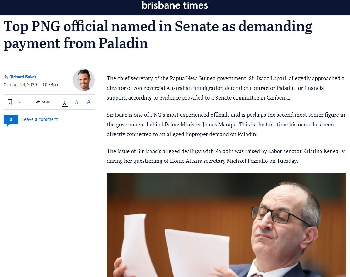 The chief secretary of the Papua New Guinea #PNG government, Sir Isaac Lupari, allegedly approached a director of controversial Australian #immigration detention contractor #Paladin for financial support  https://t.co/TZfpbEHy6B #Asylumseekers #Refugees https://t.co/r1mPYMXusF