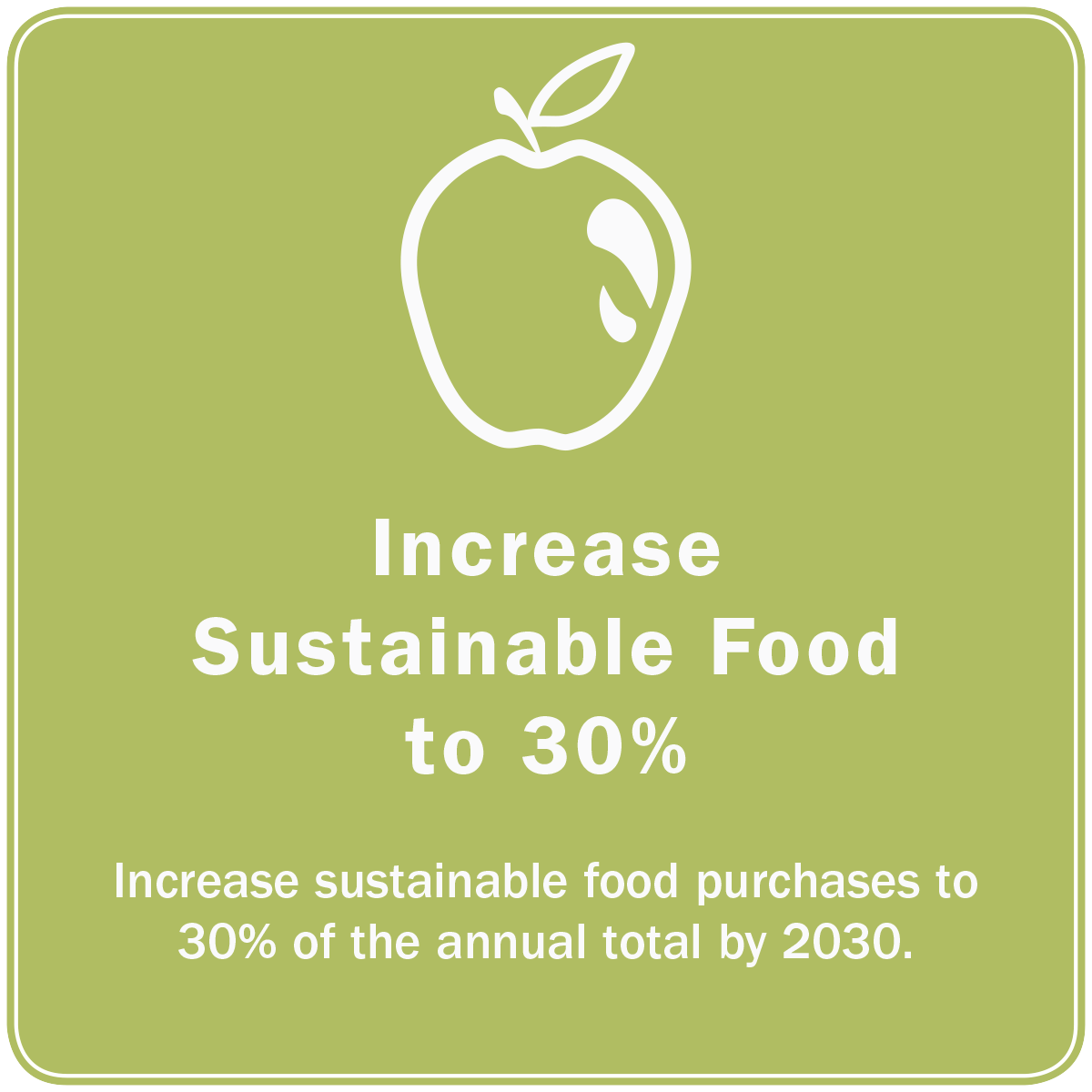 As part of the #30For30 goals, UVA has committed to increase sustainable food purchases to 30% of the annual total by 2020 #10BoldGoals https://t.co/Cm0558wRRZ