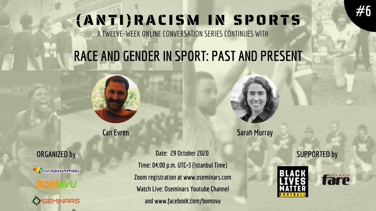 Race and Gender in Sport: Past and Present - https://t.co/6Xn3cZ44xf  This week's conversation will be a great introduction to the role of #race, #gender, and their #intersectionality in sports. Join in and learn from the experts.   #blacklivesmatter #antiracism #sports #justice https://t.co/evpefvkUEg