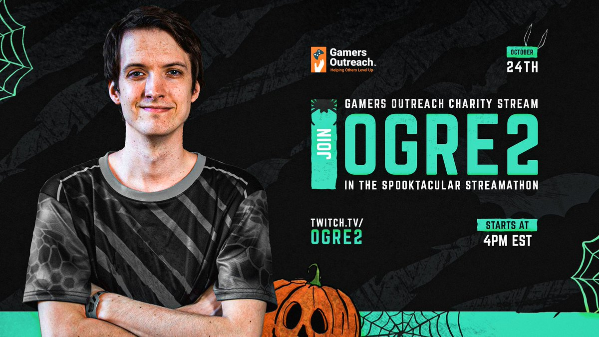 The only thing scarier than our @GamersOutreach Halloween charity stream is finding @TomRyanOGRE2 on the other team in your lobby. 📺 twitch.tv/ogre2