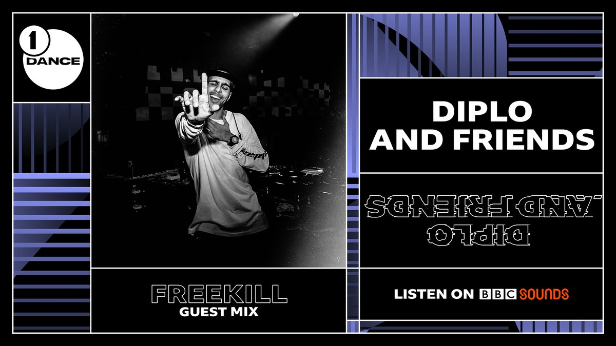 Now on @Diplo and Friends, huge bass sounds as @iamfreekill makes his debut on the show! #R1Dance   🔊 https://t.co/dRwxd8t8CB  He's got... @apedrums @Skrillex @enJOYRYDE @Malaamusic @boysnoize @DJNittiGritti @tisoki @djsnake and more 🚀🚀🚀 coming up! https://t.co/hjJcPUOm7P