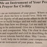 Lord, make me an instrument of your Peace 🙏🏻 A lovely prayer for civility in my Church Bulletin tonight 🙏🏻💗