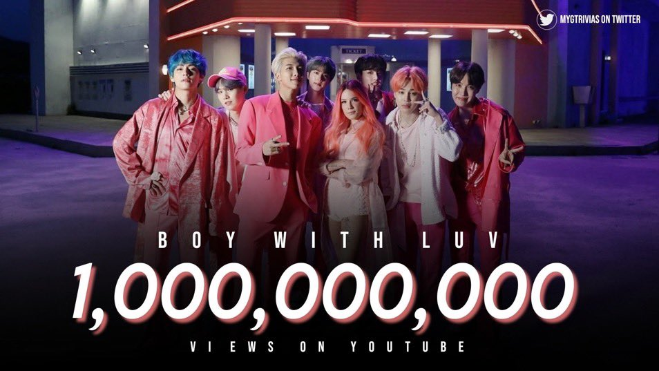 Boy with Luv (feat. Halsey) has hit 1B views on YT. Congrats @BTS_twt and ARMY! 🎉🥳   #BWL1BILLION #BTS #방탄소년단 #BTSArmy https://t.co/d7S4qx5ab7