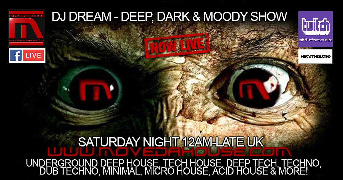 #NowPlaying #livestreaming #radioshow 12am-Late #UK #DJ Dream #inthemix #playing #HouseMusic #deephousemusic #deephouse #TechHouse #techno #deeptech #microhouse #dubtechno #ACIDHOUSE  #worldwide #internetradio #MoveDaHouse #listen #watch #chat website:https://t.co/616h5fx4QT https://t.co/QDgJBt7Lay