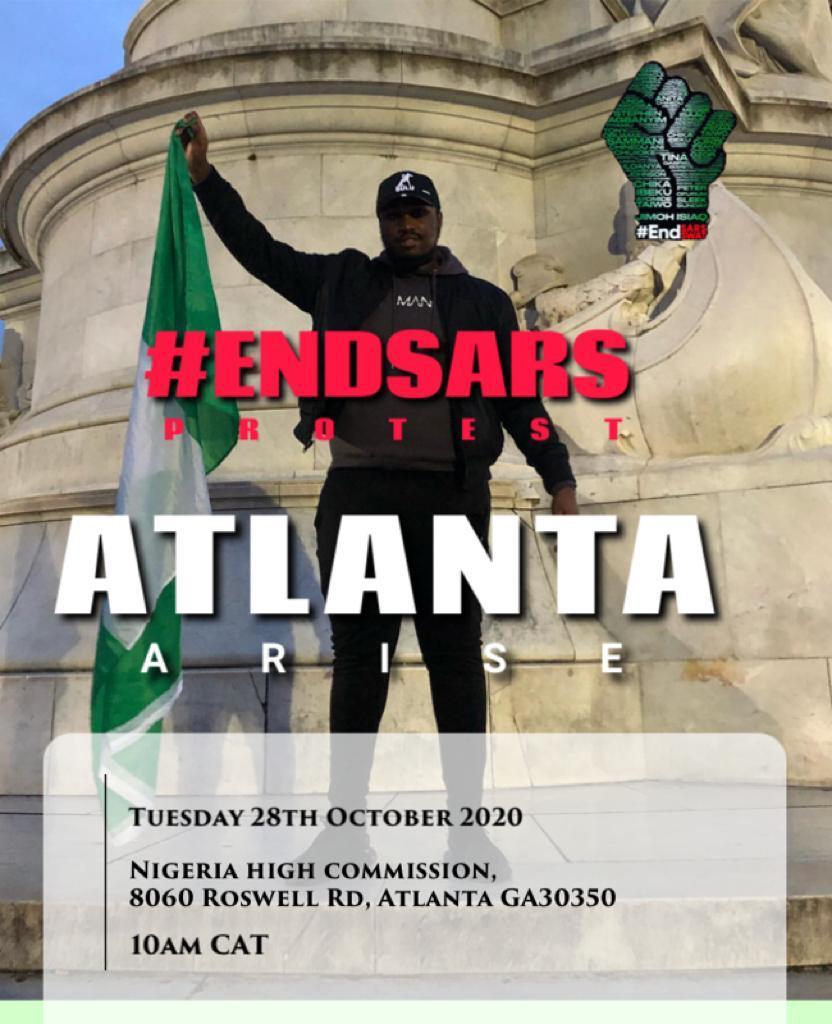 Happening now. 10/24/2020 #atlantaprotest #LekkiMassacre #LekkiGenocide #EndSarsNow #EndSAR #EndBadGoveranceInNigeria #EndPoliceBrutalityinNigera #WednesdayWisdom #StopNigeriaGovernment #BuhariMustGo #NigeriaYouthsLiveMatter https://t.co/wwsRmUIjXl https://t.co/U3eo49uu3z