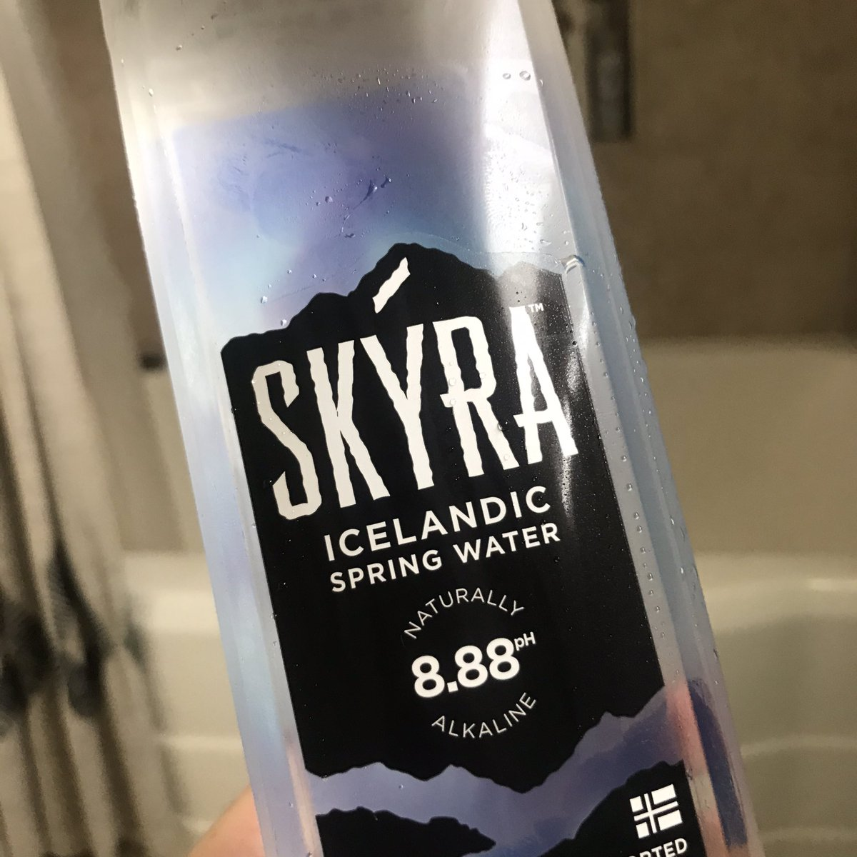 trying a different Icelandic dumb water (on the toilet)