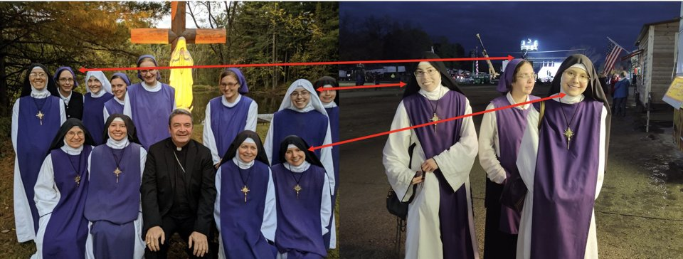 The 3 nuns attending Trump's rally in Ohio today are from the order of the Children of Mary in Cincinnati, OH. Here's a comparison of their picture from the rally today without face masks and a picture from their website. I am not using their names. https://t.co/MirzY3KzDc https://t.co/HYMnlfiwHF