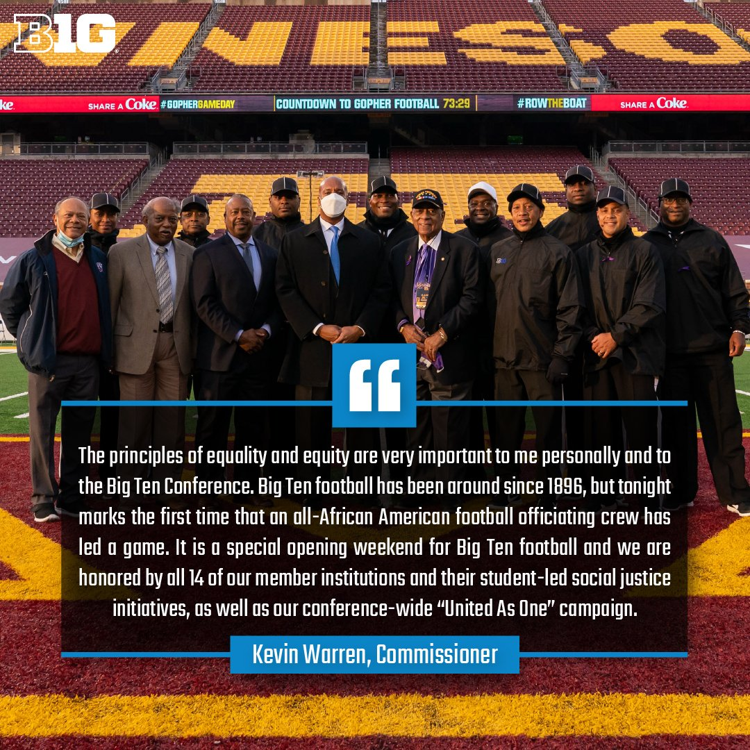 The Big Ten Conference is proud to announce that tonight's game between @GopherFootball and @UMichFootball features the first all-African American football officiating crew in the history of the @bigten and any Autonomy Five conference. https://t.co/YrDAWPBbu2 https://t.co/qWQh1RPYzh