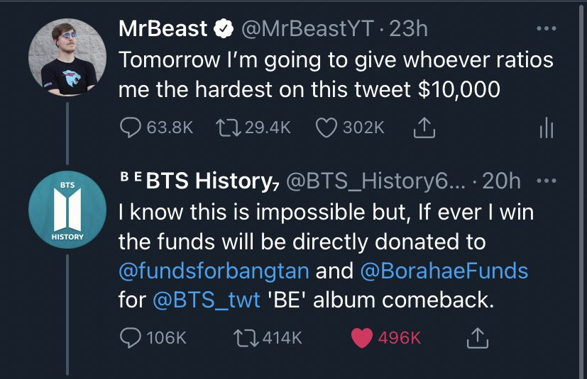 And since the BTS community put in so much effort and this was all in good fun I'll also give them $10,000. GGs all around ❤️ https://t.co/sqrpw893UV