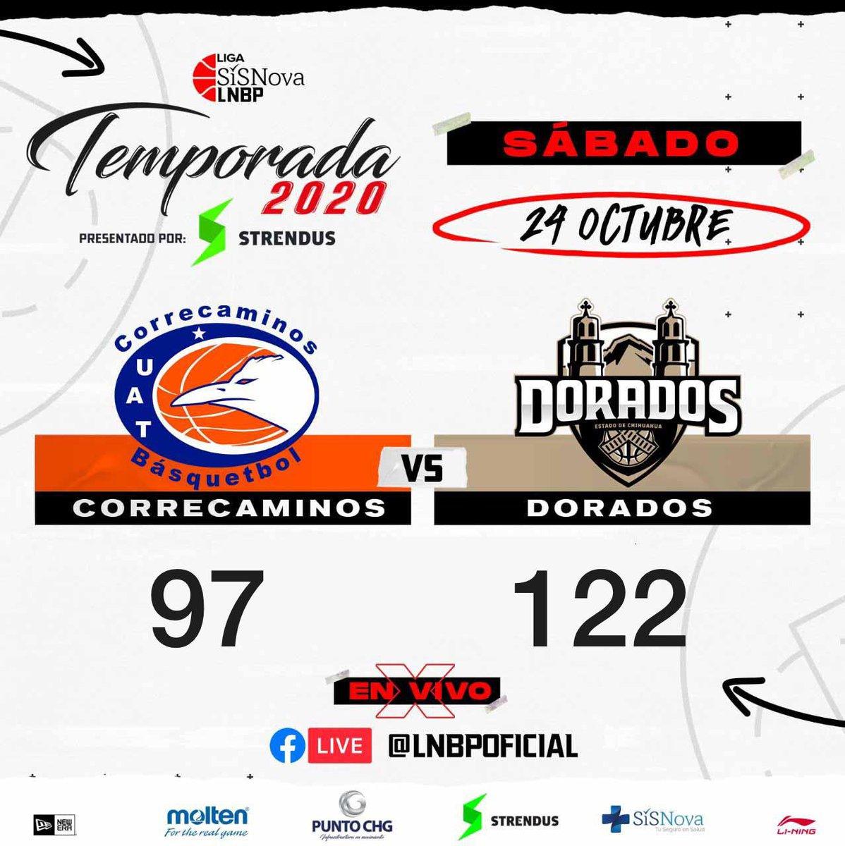 MARCADOR FINAL 🏀   @CorrebasketUAT  VS @DoradosChih   #Temporada2020 #LigaSisnovaLNBP #QuédateEnCasa #EsteEsMiJuego @LNBPoficial #LNBP @moltenmex  @liningmx  #sisnovamx  @neweramx  @strendusoficial  #puntochg https://t.co/zkIlIyunWf