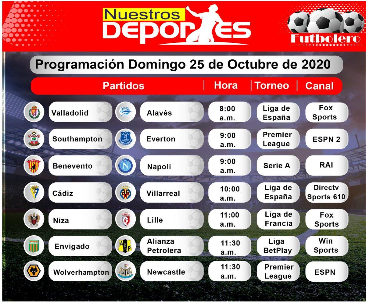 #Futboleros, esta es la programación de los partidos que pueden ver el domingo por televisión.  #Fútbol #QuéVivaElFútbol #Colombia #DomingoDeFútbol  #LigaBetPlay #FPC #LaLiga #SerieA #PremierLeague #Bundesliga #Ligue1 #PrimeiraLiga  #QuédateEnCasa  https://t.co/Tq34qnio0U https://t.co/M8tYbGeJgU