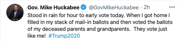I hope you've been hacked, @GovMikeHuckabee. Trying to undermine the faith of the American people in our democracy with this baseless voter-fraud nonsense? Publicly confessing to committing felony violations of AR Code §§7-1-104(a)(11)-(12)?   Not funny. Not cool. Appalling.