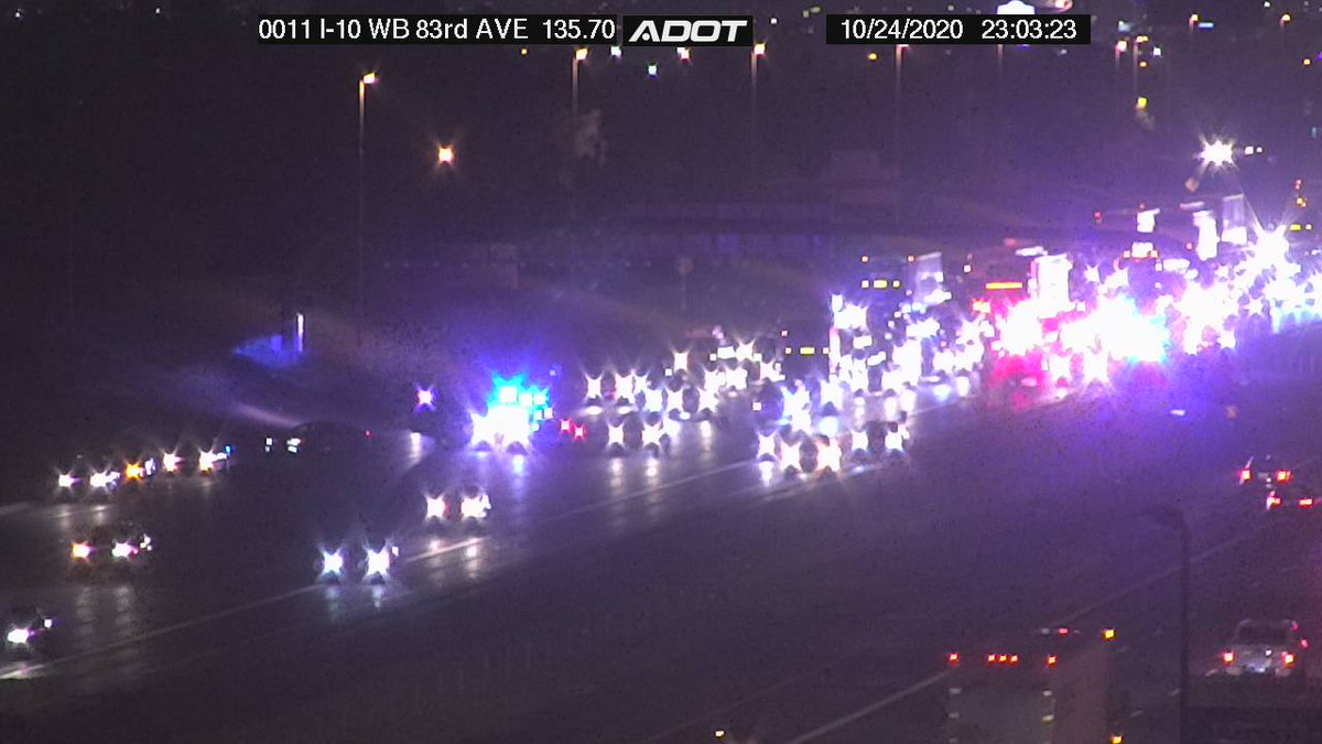 I-10 eastbound at 83rd Ave: A crash is blocking multiple lanes, but traffic is getting through. #phxtraffic #I10