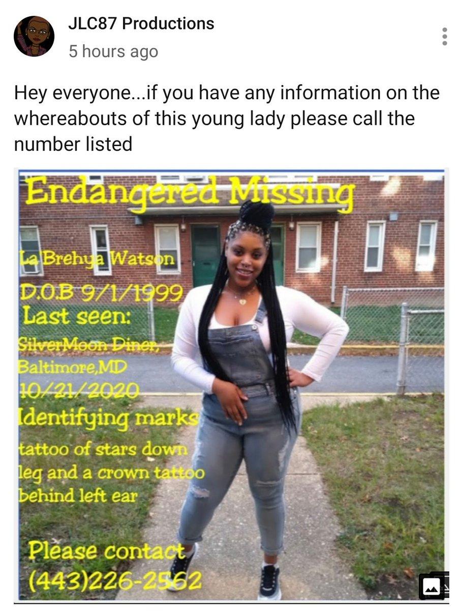 #MissingPerson Please retweet #baltimore #Maryland  LaBrehya Watson https://t.co/gQrRUPkxeg