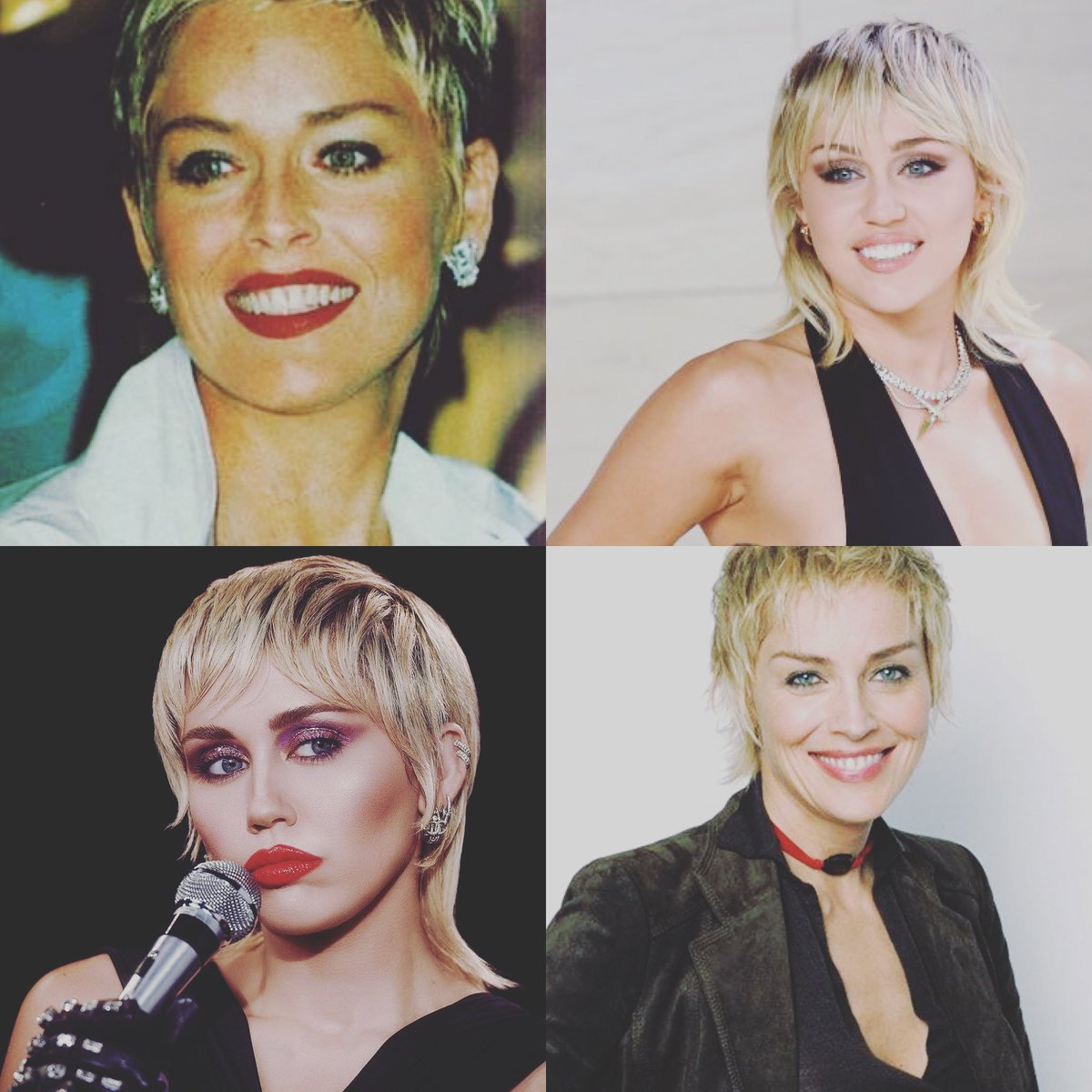 Whoa. #mileycyrus and #sharonstone ... twinsies? Or am I just punch drunk from #quarantinelife? ... I do love them both! #badass @MileyCyrus @sharonstone https://t.co/BzkcFriI1h