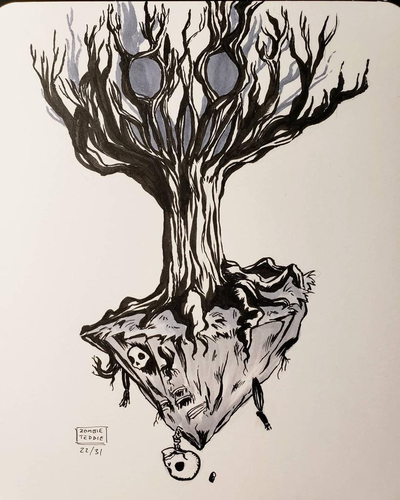 """""""Body"""" #inktober 🌳 wanted to try heavy shadows c: . . (( #ztdraws #tree #skeleton #dead #body #skull #halloween #deadtree #ink #inking #art #streamink #horror )) https://t.co/Y7yxgEIttU https://t.co/5yKFQNK402"""