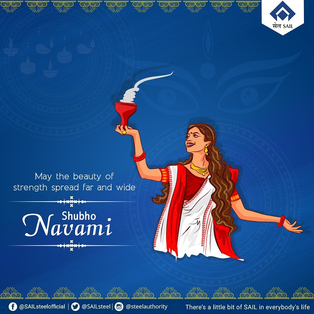 Let the air of steely strength fill your celebrations with power and positivity. @SAILsteel wishes you all a very happy Durga Puja. #DurgaPuja2020 #Pujo #Navratri #Navmi #dusherra https://t.co/aeeo8uwlrF