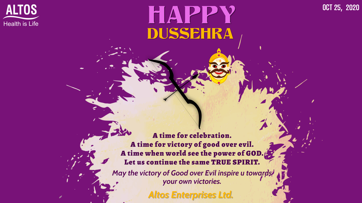 Happy Dussehra A time for celebration. A time for victory of good over evil. A time when world see the power of God. Let us continue the same True Spirit. #dussehra2020 #rama #entrepreneurlife #lifestyle #entrepreneurlife #lifestyle #young #bodybuilding #fitfam #food #altos https://t.co/qVlwnEomdA