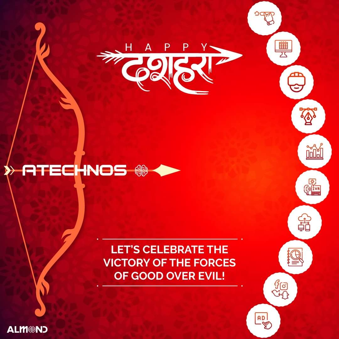 It's time to begin new things in life and burn away the worries with the effigy of Ravana. @Atechnos and @AlmondSolutions family wishes you all a very #HappyDussehra. . . #Atechnos #AlmondSolutions #Technology #Innovation #Dussehra #Dussehra2020 #Festival #Durga #Pooja #Happiness https://t.co/0kqA6hH5pg