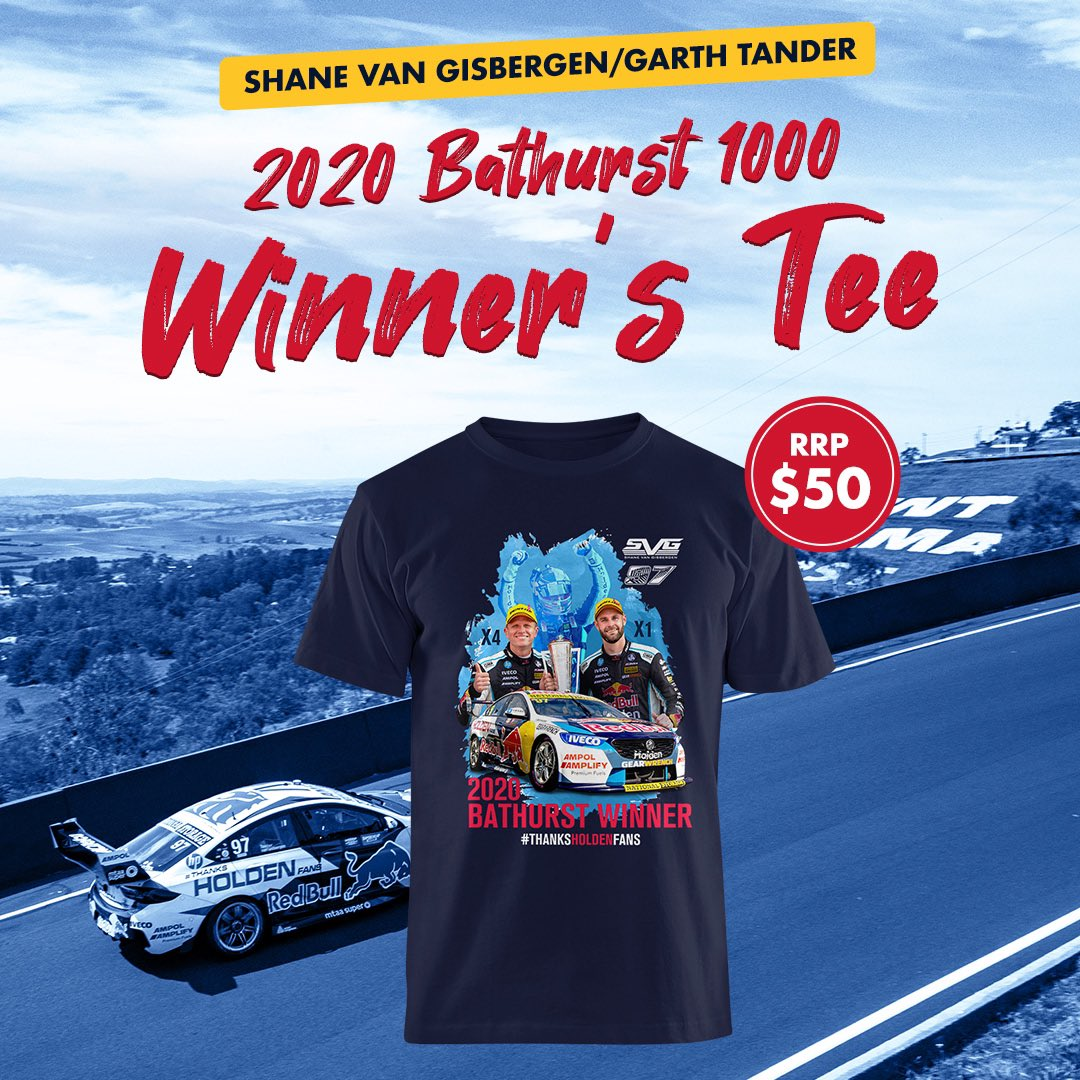 Bathurst 1000 Winners Tees 😍🏆  Shop now 👉 https://t.co/xqeOvx3Tv0  #RedBullHolden #VASC https://t.co/gi076wJqtZ