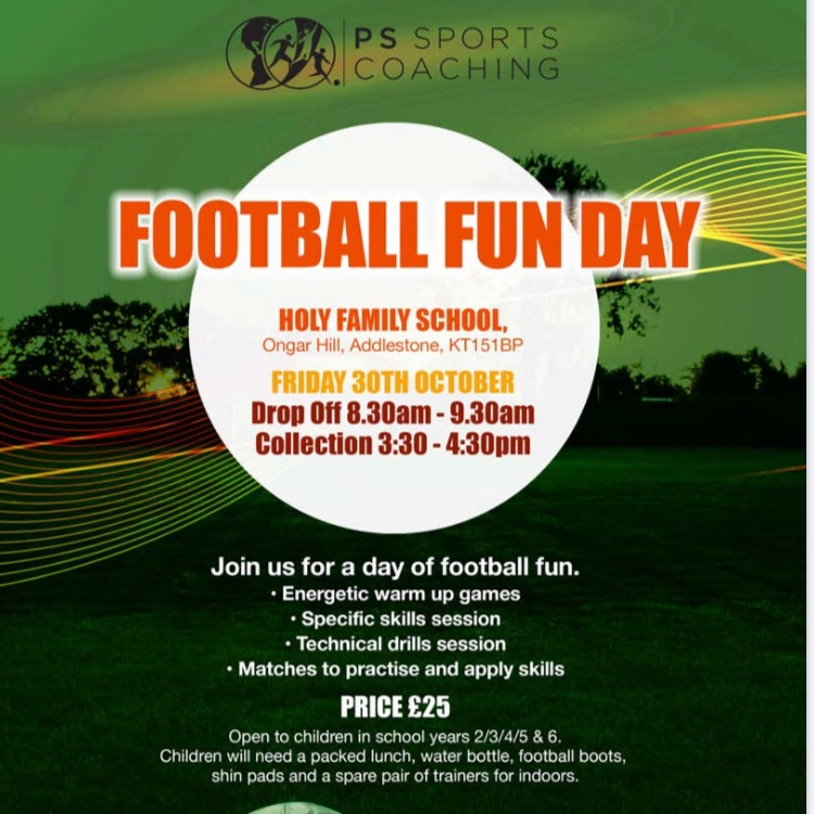 Football during half term at The Holy Family School Addlestone. Only a few spaces remaining. Book through our website. Fun games, skills and matches. #friday #Halloween2020 #Halloween #football #addlestone #surrey https://t.co/cLZungu3lG