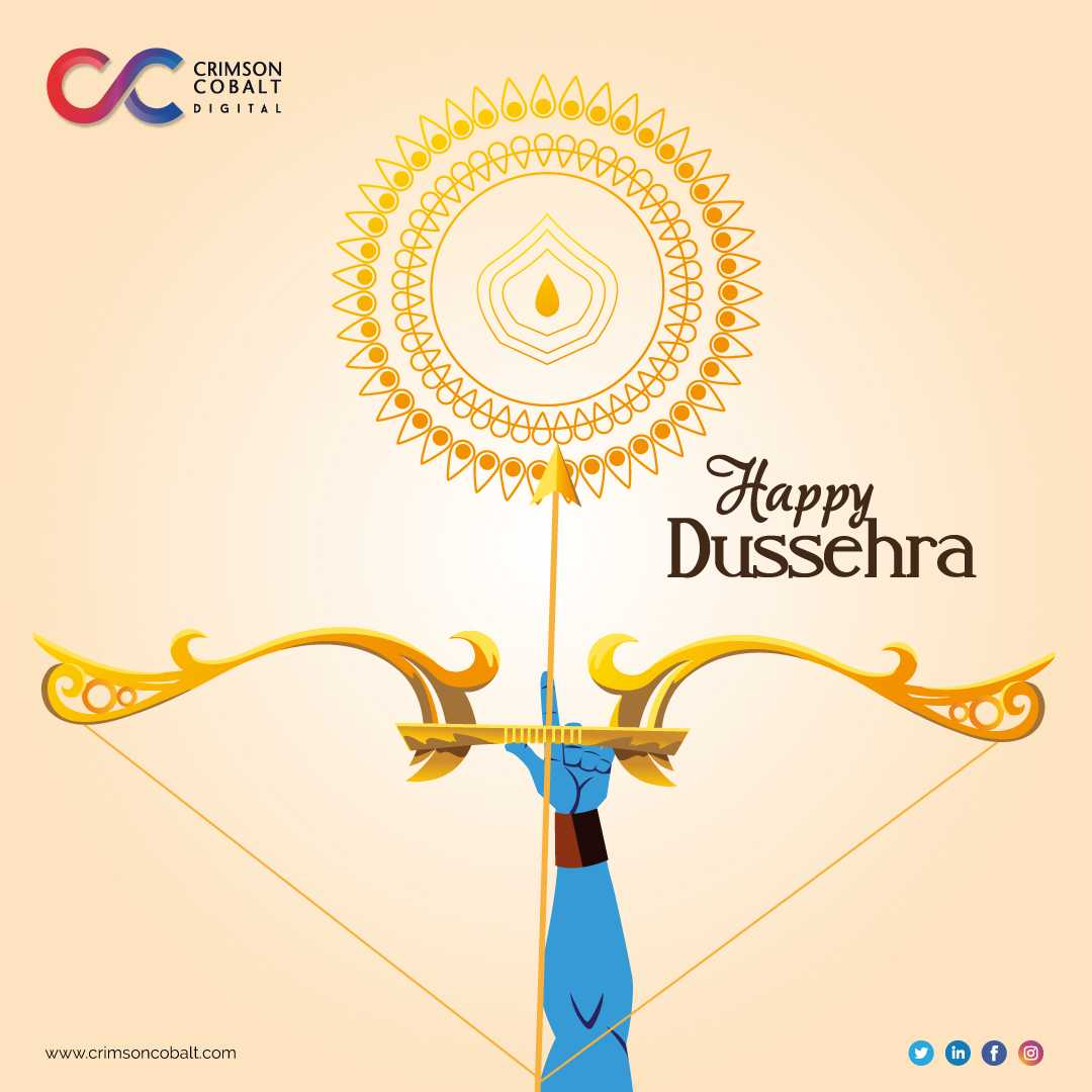 Let this celebration of good over evil bring you new resolutions and new beginnings. With best wishes from team Crimson Cobalt. Visit us:https://t.co/jyzYL871xu #Crimson #CrimsonCobalt #CrimsonWishes #DigitalMarketing #Bond #Agency  #HappyDussehra https://t.co/gNcMPDL6Il