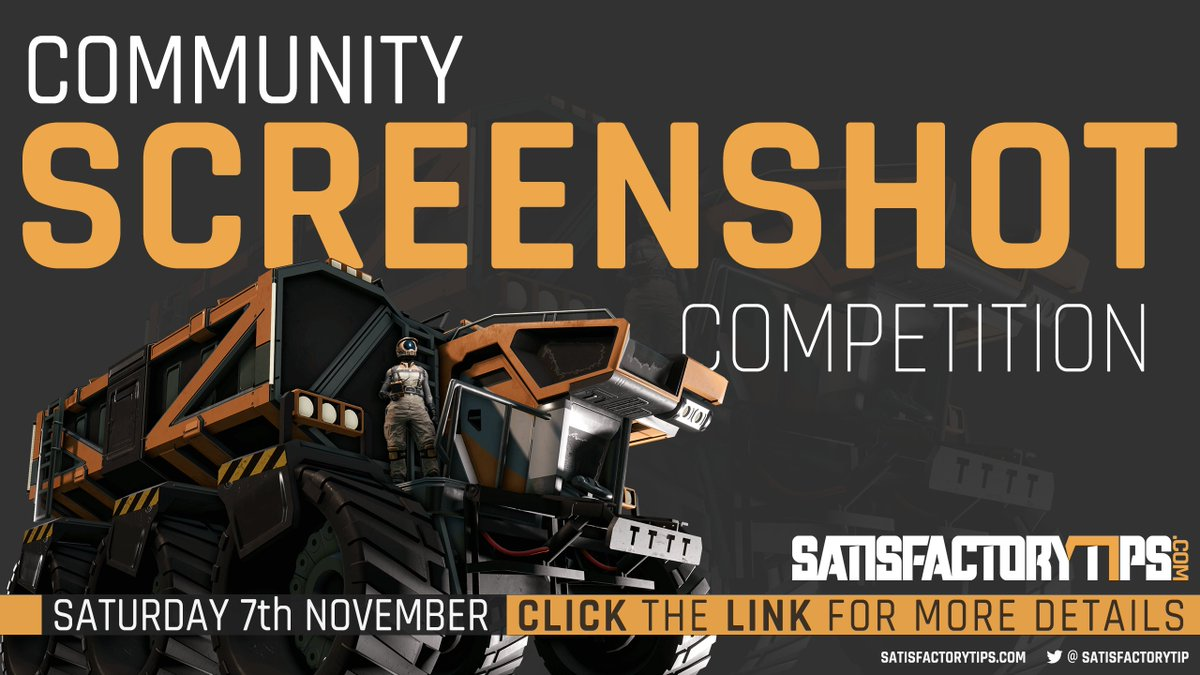 As part of the Community event on the 7th November https://t.co/Hu7FW4u3Zr will be hosting a screenshot competition, your chance to win some of the £50 prize pool!  Click the link for more details: https://t.co/MY0mtJ7wLt  @SatisfactoryAF https://t.co/BvPGCmiWqH