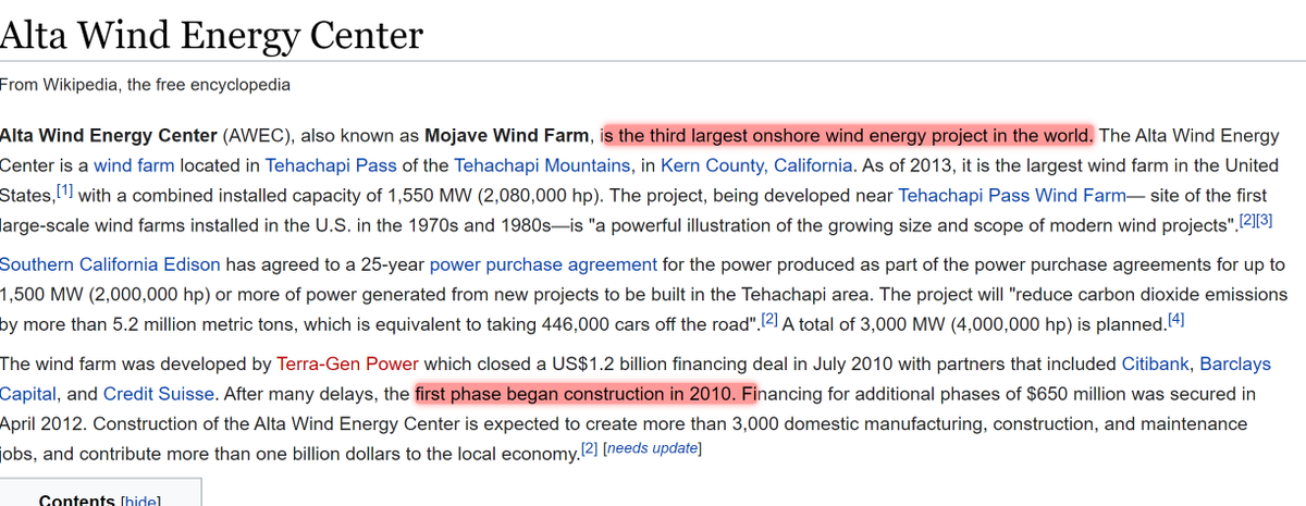 Appendix A: Wondering why  @envprogress picked the Alta wind farm as its comparison to Diablo Canyon? Yep: old, big, and inefficient. These people *intentionally* choose the least-representative projects to maximise the terror and fear.