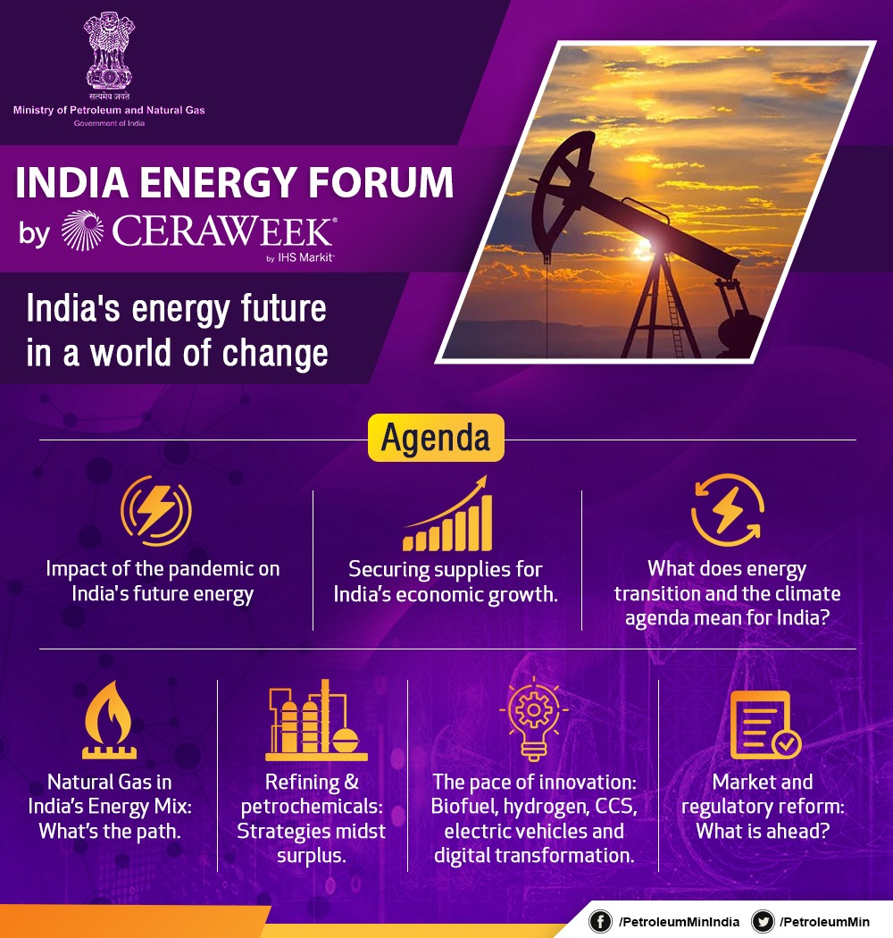 The #IndiaEnergyForum by #CERAWeek will witness energy ministers, captains of national oil & gas companies and national and international energy experts deliberate on a secure energy future for India in a rapidly changing world, energy transition and the road ahead. #IEF2020 https://t.co/rMF00zOMWB
