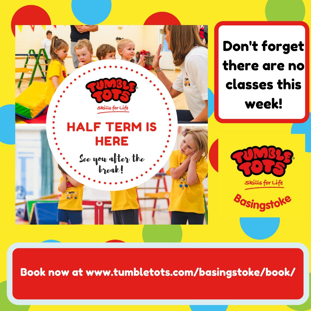 🔴🔶 NO CLASSES THIS WEEK 🔴🔶 It's half term week so classes will return from Monday 2nd November! Book your space now and come and join us #tumbletotsbasingstoke #halftermholiday #booknow #monday #tuesday #friday #baby #babies #babyactivities #toddler #toddleractivities https://t.co/6h55DRy7KV