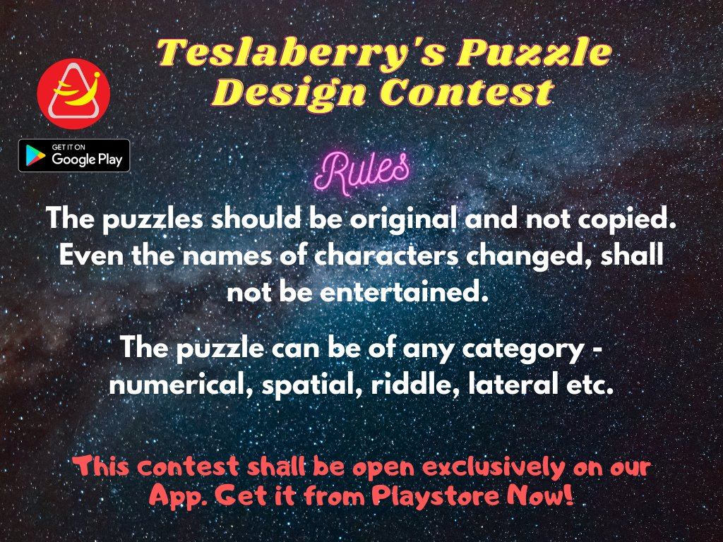 #ContestAlert 🥳  Participate & Get chance to win coupons:  👉Download app👇 🔗 https://t.co/SSb8CU2lPx   👉Submit original puzzle  👉RT, like, follow 👉Tag 3🧑🤝🧑  #riddle #puzzle #puzzles #Contest #giveaway #contestgiveaway #GiveawayAlert #Giveaways #ContestOfTheWeek #ContestIndia https://t.co/PLKUEGupiN