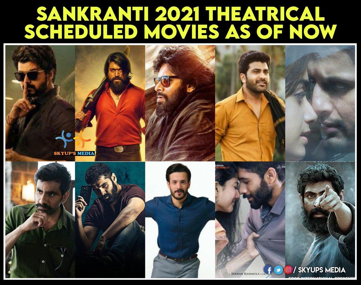 Sankranti 2021 Theatrical movies..🙌  #VakeelSaab #Master #Krack #MostEligibleBachelor #Red #RangDe #aranya #rangde #kgf2 #sreekaram https://t.co/jhG21EKAxT