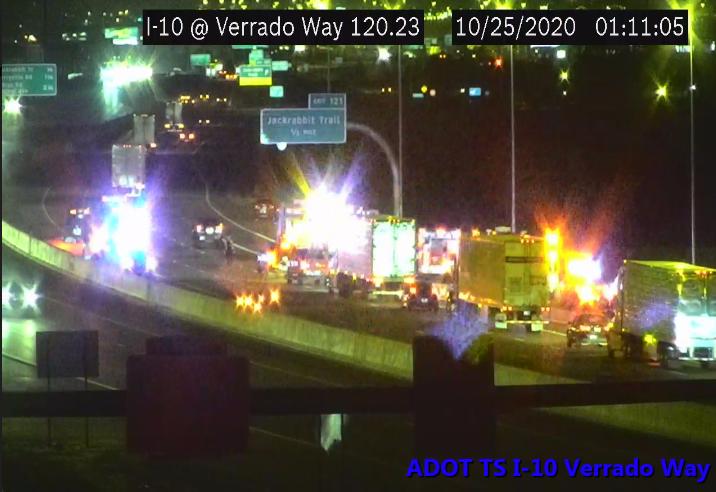 I-10 eastbound at Verrado Way: A crash is blocking the left lane. #phxtraffic #I10
