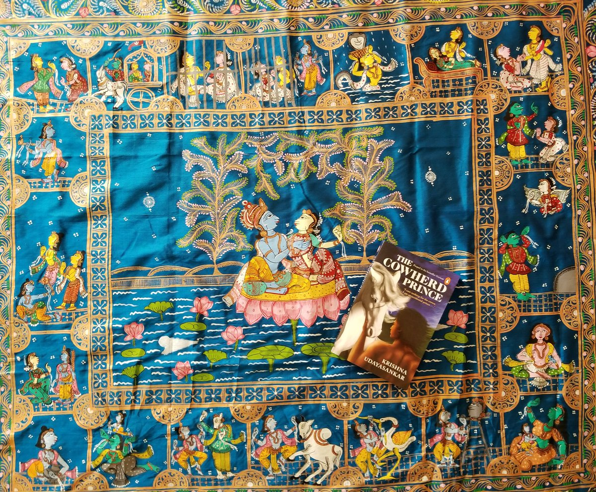 Mahanavami #Saraswati poojai #Vijayadasami gift from mom - A #TheCowherdPrince #saree!!!  Happy #Dussera and #Bijoya wishes everyone!  #pattachitra #odisha